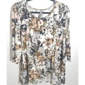 Honeyme Curvy Floral Tunic with Side Knot, Size XL